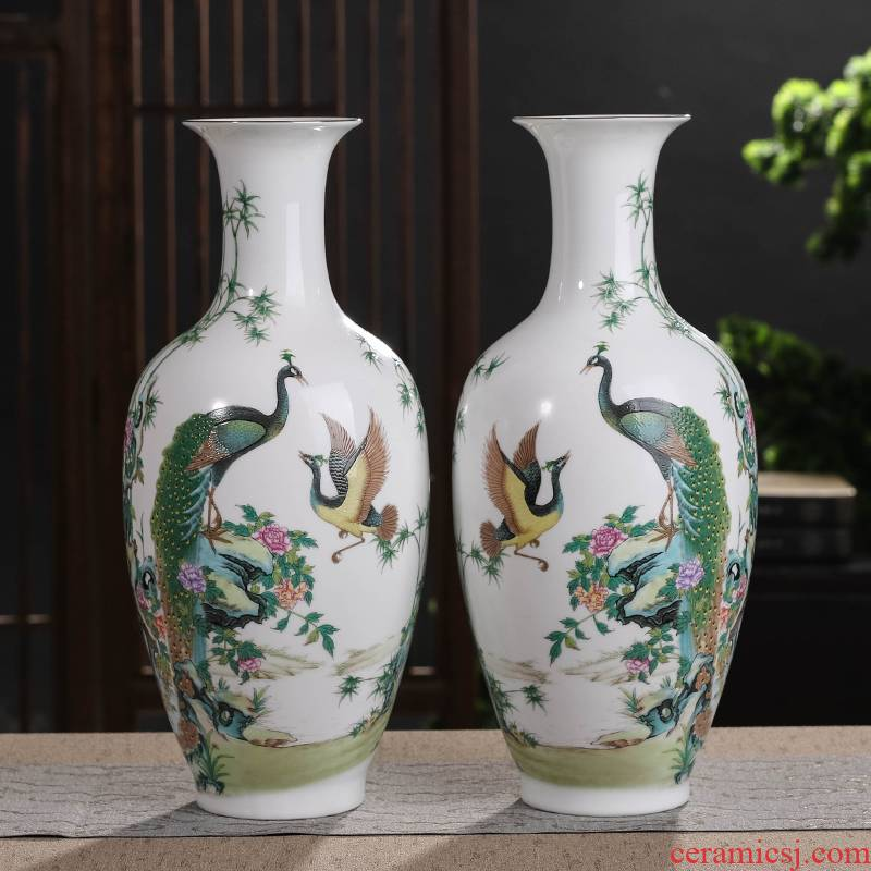 Jingdezhen pastel peacock ceramic vase furnishing articles sitting room flower arranging TV ark, study household decorates a bottle