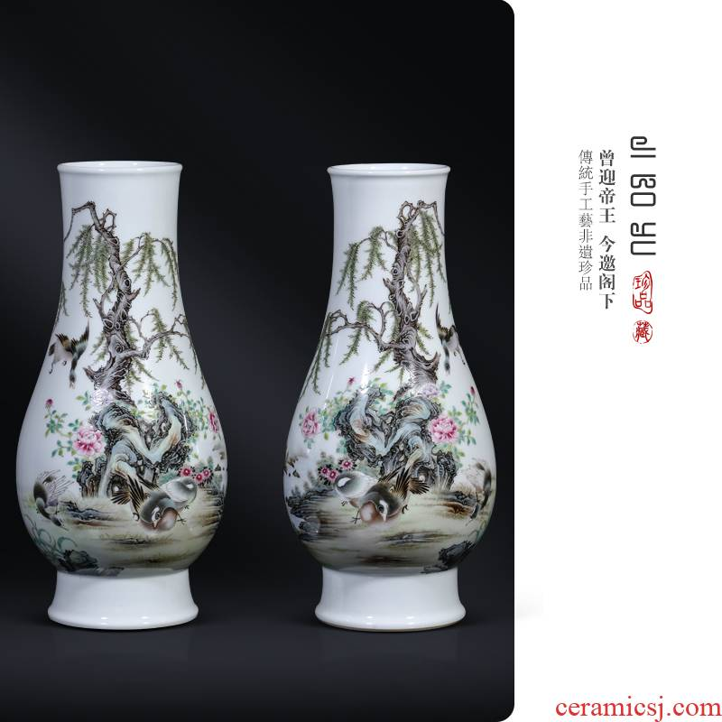 Antique hand - made jingdezhen ceramics powder enamel on bottles of Chinese style living room porch rich ancient frame decorative furnishing articles
