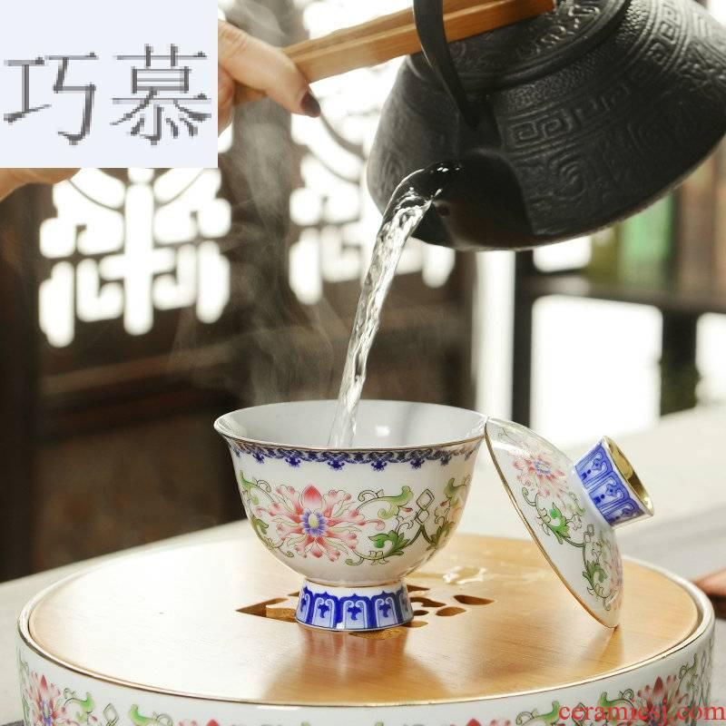 Qiao mu ceramic kung fu tea tureen parts household porcelain pot of contracted Japanese tea cups three bowl of tea taking