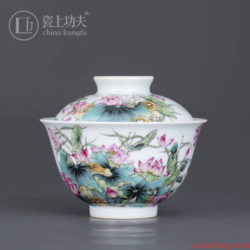 Colored enamel porcelain on kung fu lotus tureen 2 to jingdezhen ceramic high - end tea tureen large hand - made tea sets