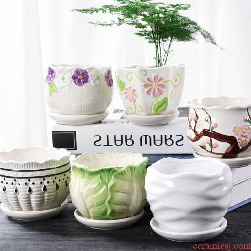 Restore ancient ways more suit flowerpot household ceramics new porcelain basin of new Chinese style small breathable furnishing articles is suing furniture