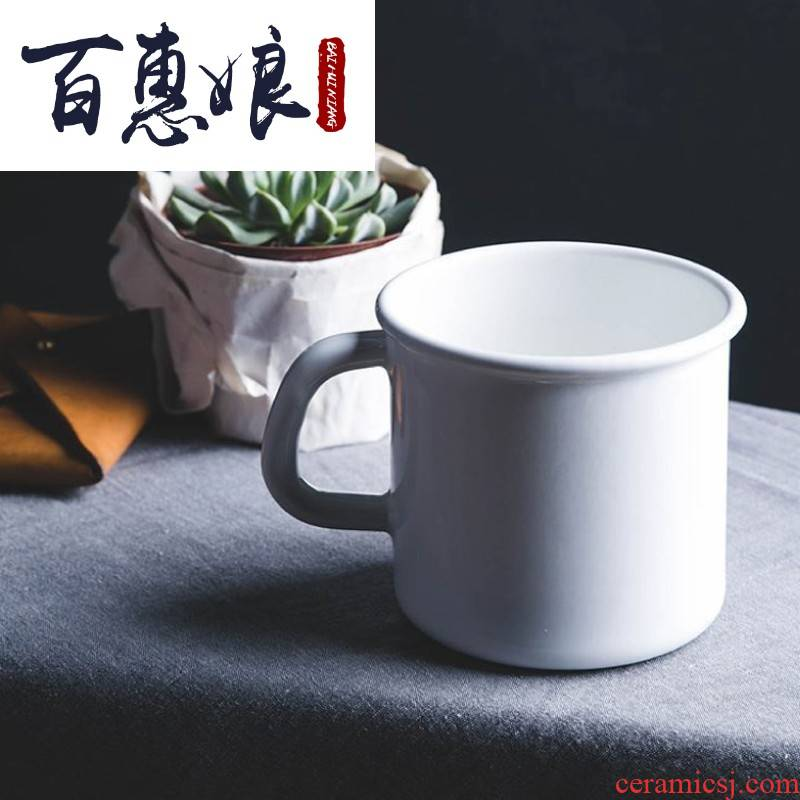 Manual (niang Austria enamel keller cup coffee cup breakfast cup size 9 cm 500 ml of pure white