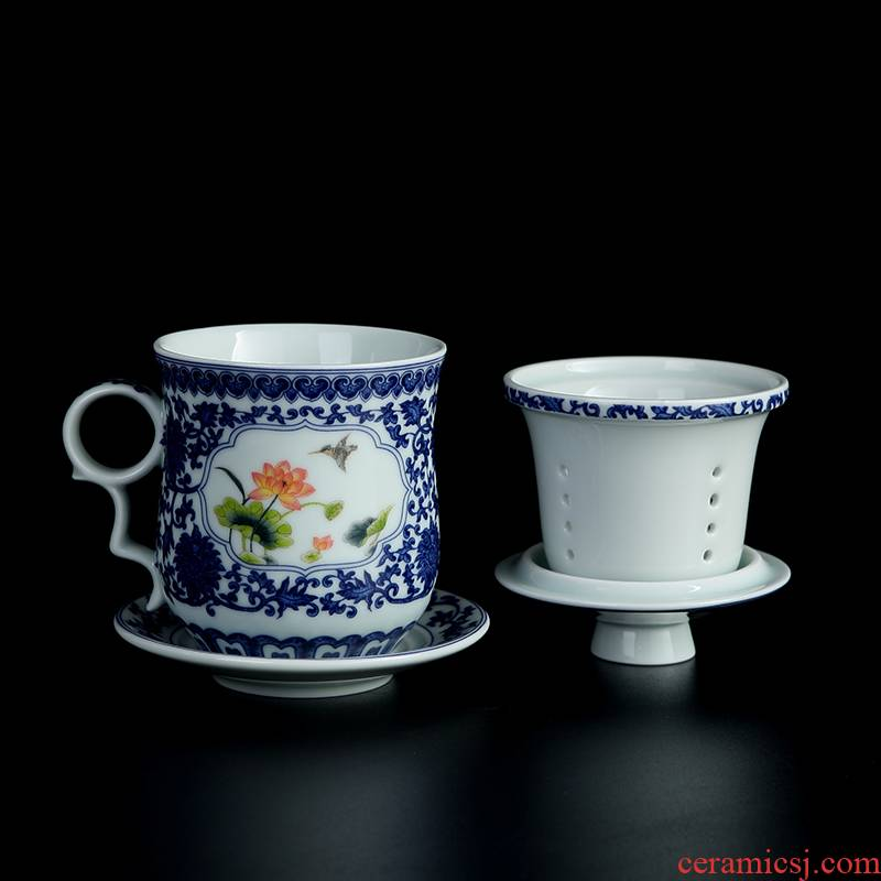 Jingdezhen porcelain ceramic cups office personal special glass with cover filtration separation tea tea cup