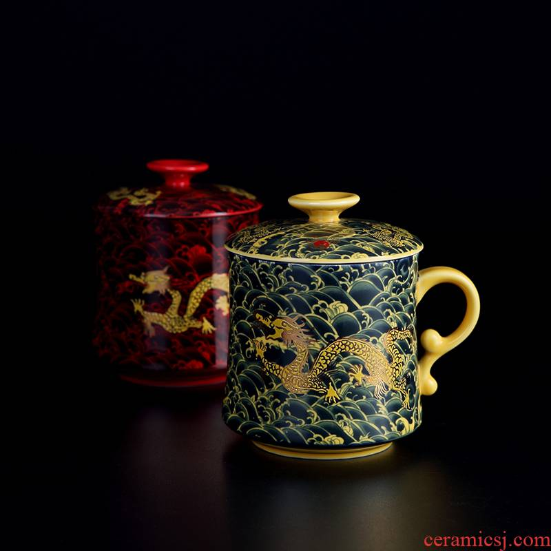 Jingdezhen ceramic cups with cover filtration separation tea tea cup domestic large capacity office dedicated individuals