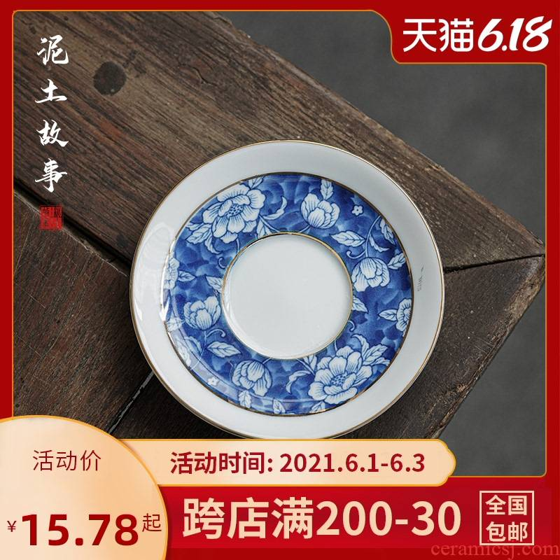 Japanese blue and white porcelain teacup pad manually ceramic cup doesn water glass heat insulation as antiskid saucer tea tea accessories