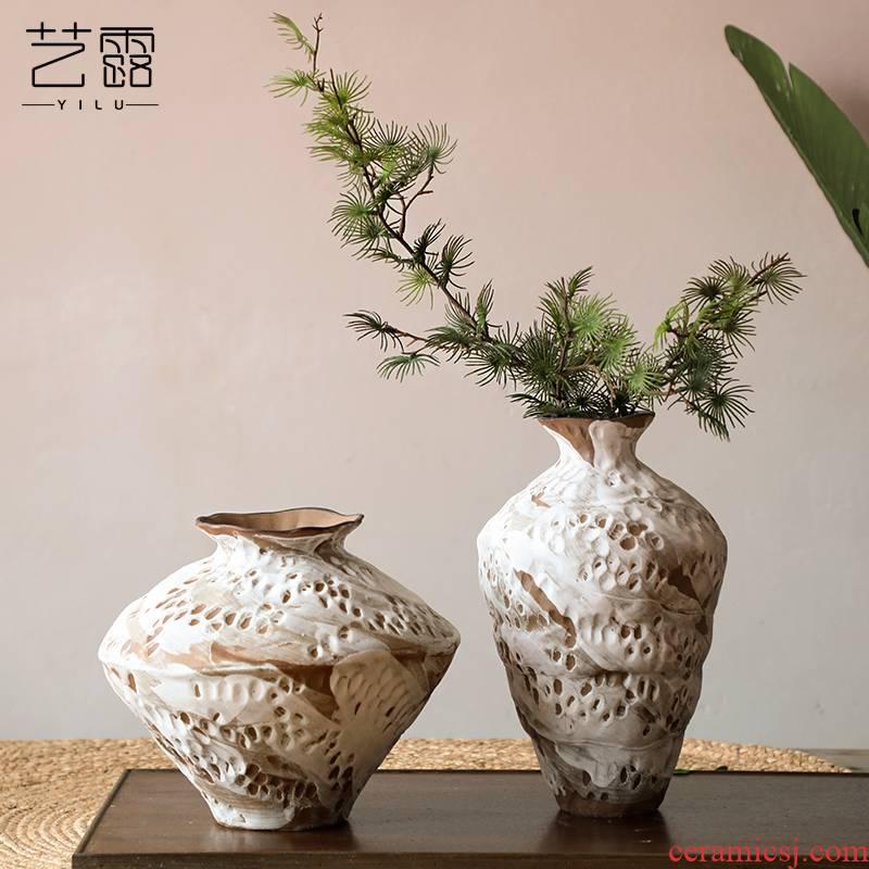 Coarse ceramic vase bearing arrangements with Japanese style restoring ancient ways home stay hotel wabi-sabi penury, zen wind POTS furnishing articles