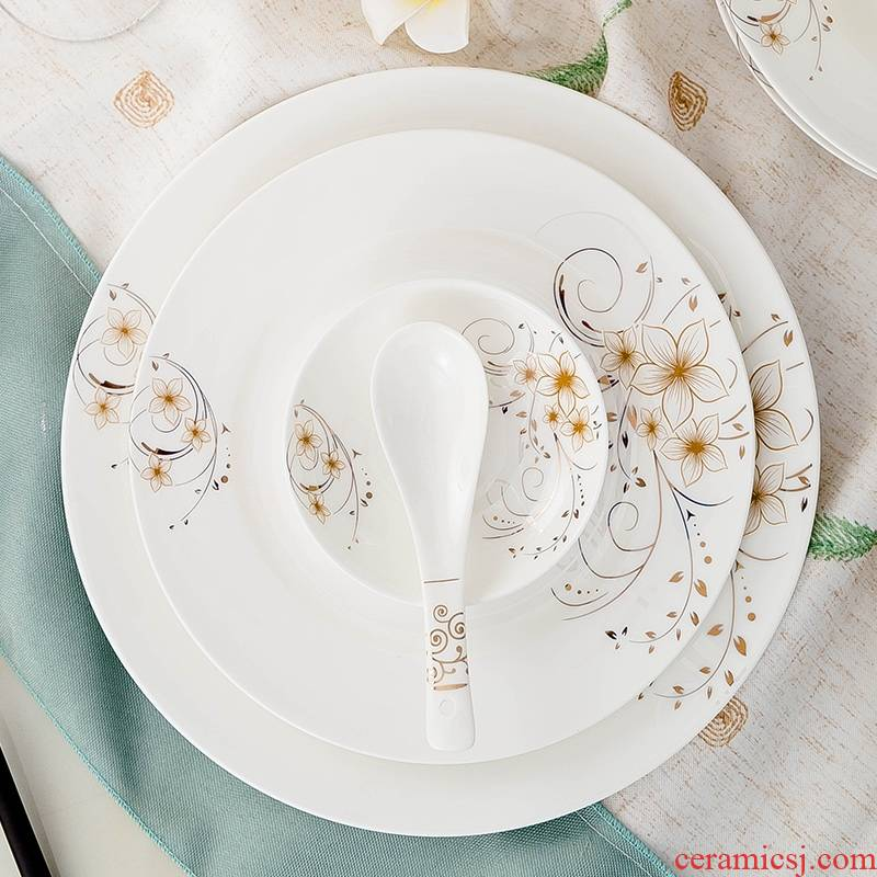 Qiao mu dishes suit household jingdezhen European - style ipads China dinner set bowl chopsticks ceramics plate combination of Chinese style