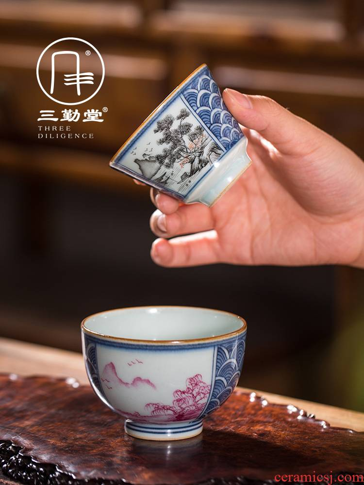 Three frequently hall Chinese style window hand - made teacup tea sets jingdezhen ceramics masters cup sample tea cup kung fu tea set men and women