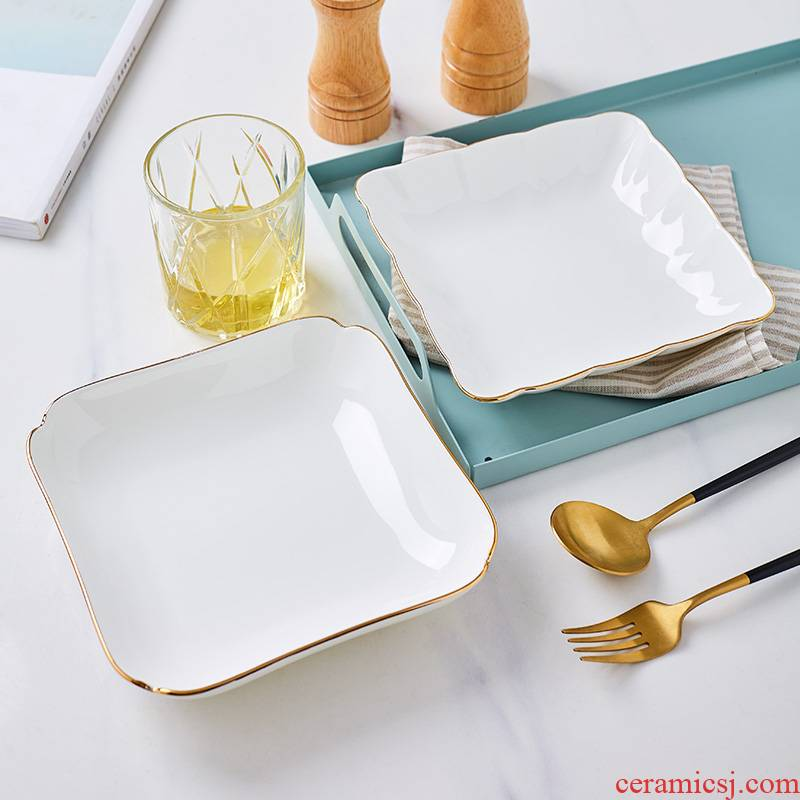 White ipads China square up phnom penh dish household microwave ceramic Korean fruit breakfast Chinese dishes