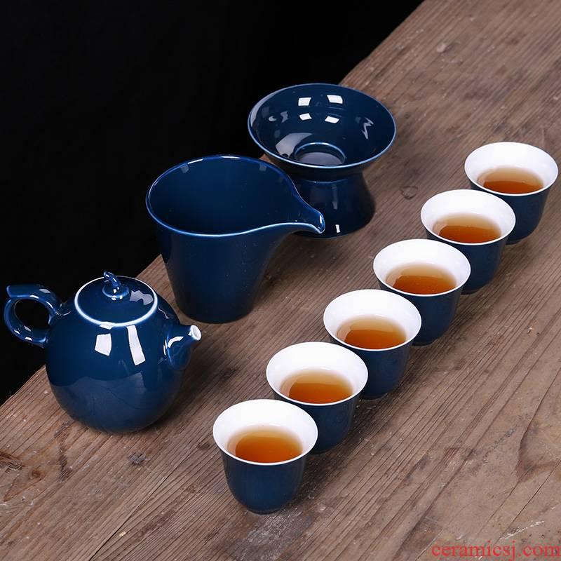 Ji blue glaze ceramic kung fu tea sets, small household red knot wedding Chinese teapot teacup tureen office