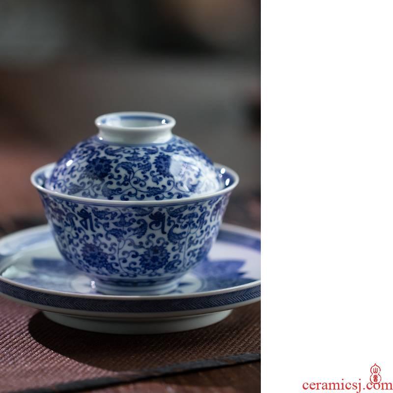 New arborist benevolence blue treasure phase tureen jingdezhen blue and white tea tureen three only hand - made ceramic bowl