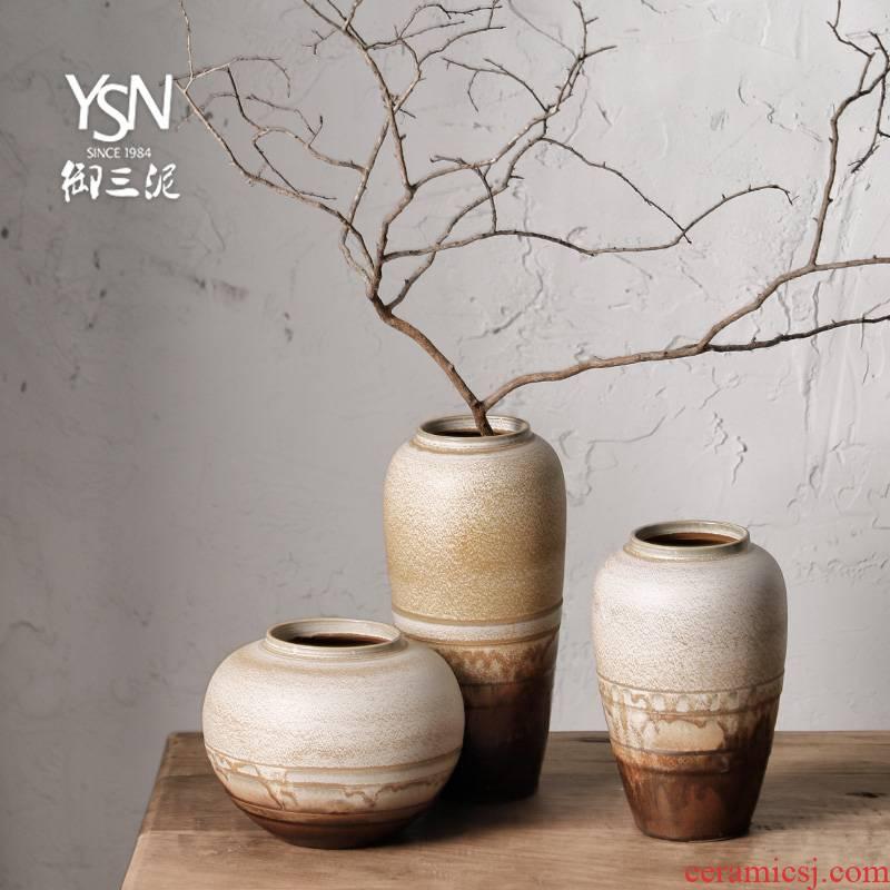 Royal three mud jingdezhen ceramic bottle of zen ornament furnishing articles new Chinese crude TaoHua dry flower flower vase