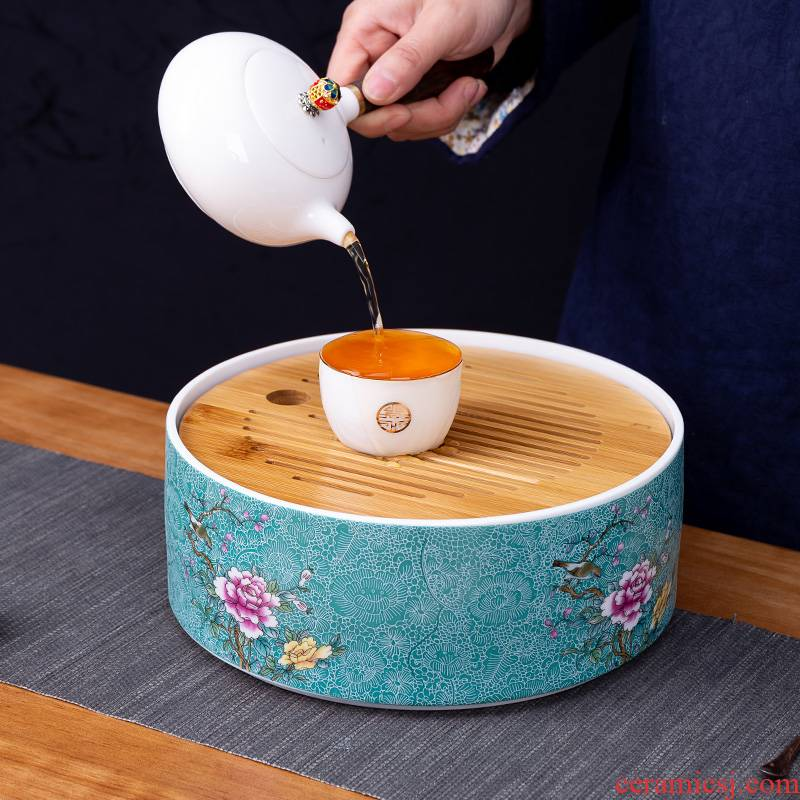 Pick flowers, ceramic tea tray was circular storage disc storage plate Chinese kung fu tea set dry small tea saucer bamboo plate