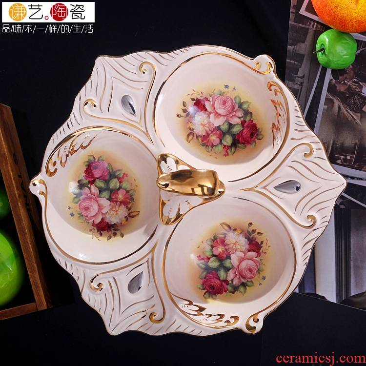 Qiao mu ou compote ceramic creative home furnishing articles fashion wedding gift fruit bowl restoring ancient ways