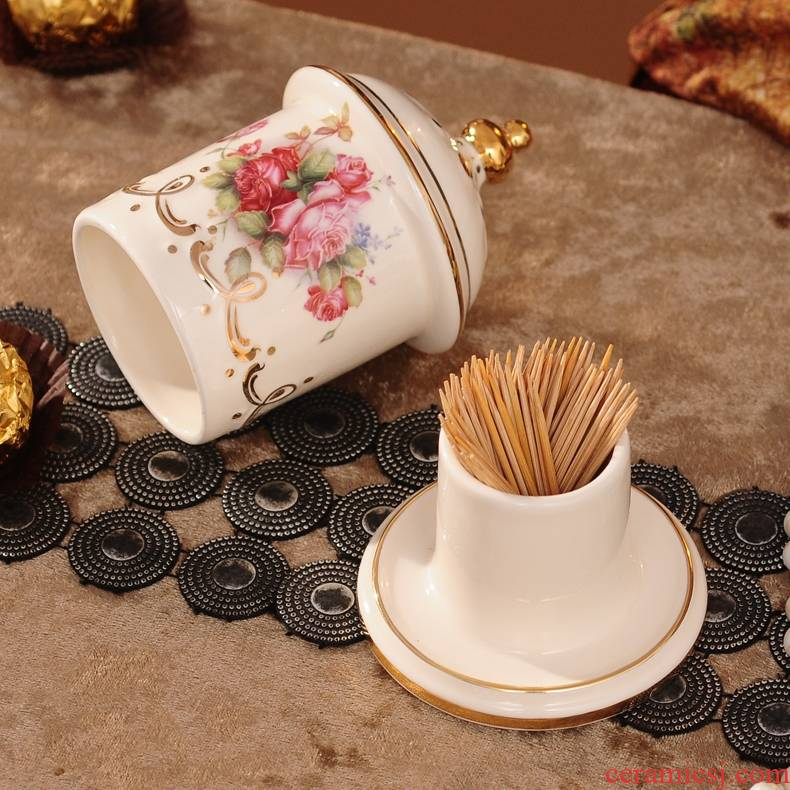 Qiao mu ou toothpicks extinguishers ceramic toothpicks can swab box jewelry creative living room table furnishing articles package mail
