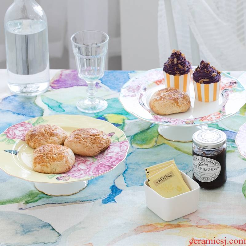 Qiao mu English afternoon tea ceramic cake tray was European - style ipads porcelain high fruit snacks home plate