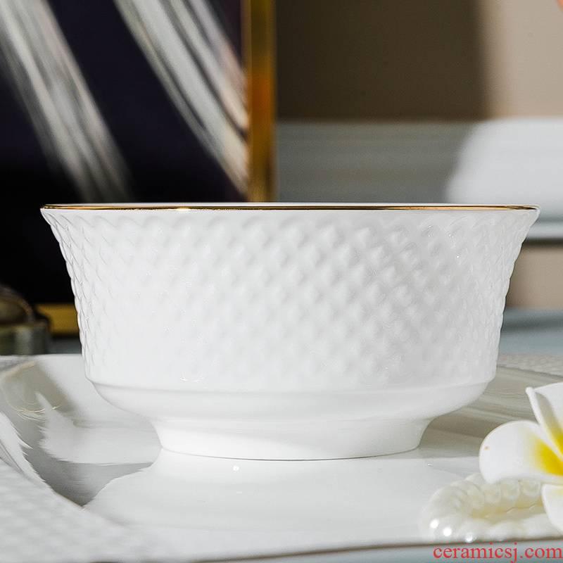 Qiao mu jingdezhen European dishes suit household ipads China dinner set bowl chopsticks ceramics plate combination of Chinese style