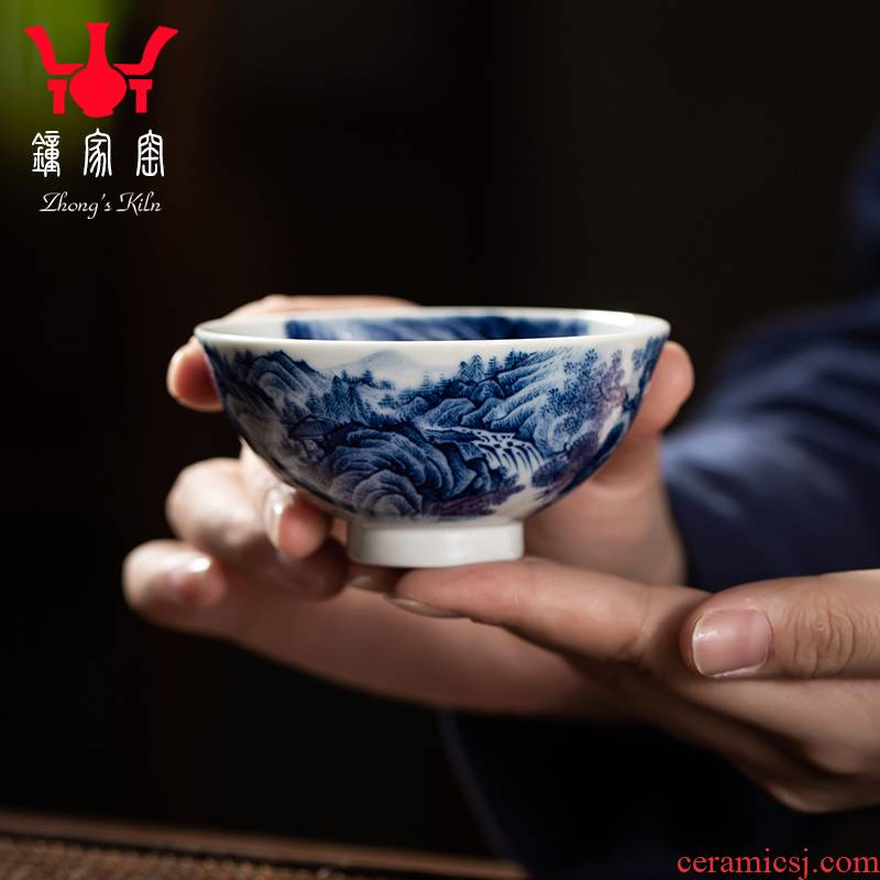 Clock home trade, one cup of single blue and white landscape heart cup cup jingdezhen maintain hand draw archaize ceramic sample tea cup
