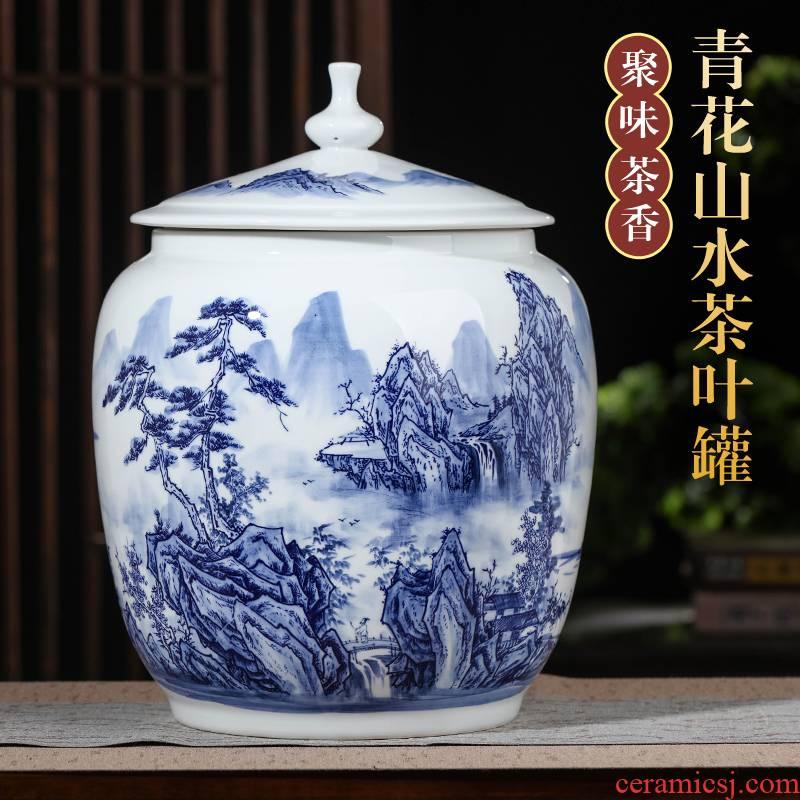 Hand - made landscape ceramic large blue and white porcelain tea pot seal pot puer tea cake home store tea urn