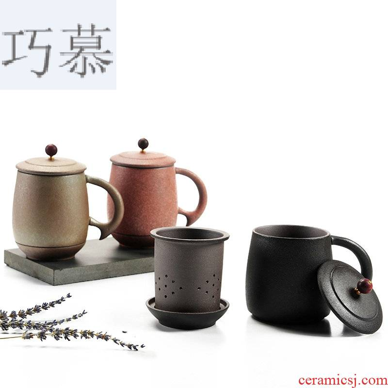 Qiao mu Japanese mugs ceramics with cover large capacity filter cup office tea cup of water glass cup