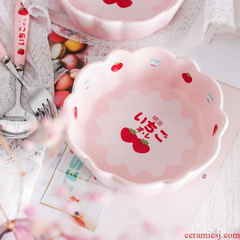 5 in 1, a Japanese Meiji dessert salad bowl student ceramic glaze strawberry pink breakfast bowl bowl girls heart