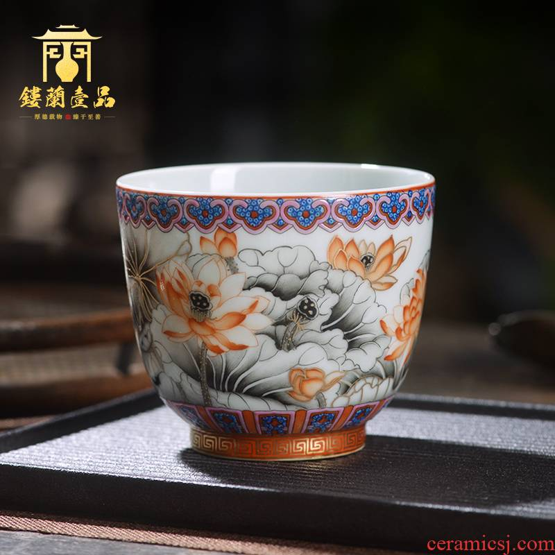 Jingdezhen ceramic all hand - made color ink alum red lotus masters cup large cups kung fu tea cup, bowl