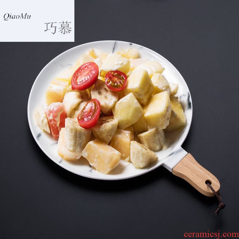 Qiao mu OC creative ceramics steak pan European fruit salad plate of western dessert plate plates disc
