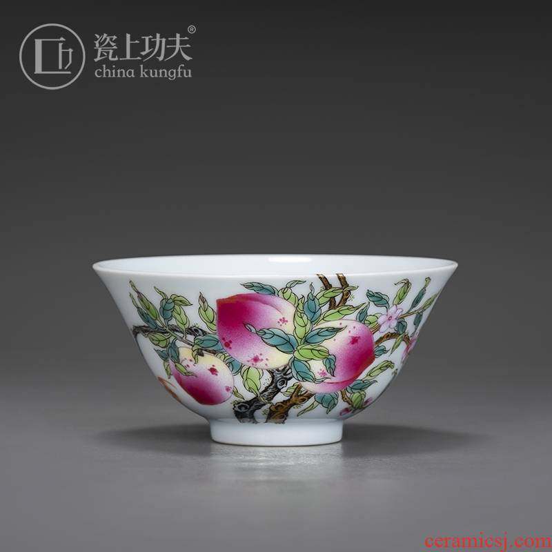 Jingdezhen hand - made master cup single cup participants in high - grade small peach colored enamel kung fu tea cups personal special tea set
