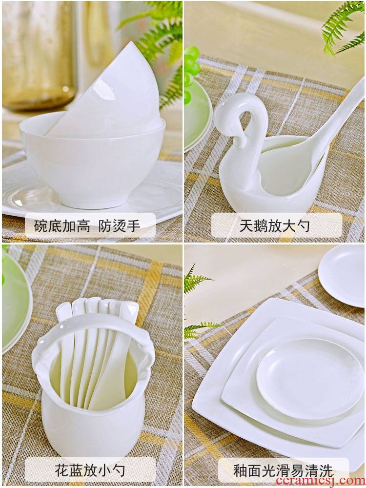 Qiao mu under glaze color ipads porcelain tableware suit pure white contracted jingdezhen ceramic creative dishes dishes chopsticks at home