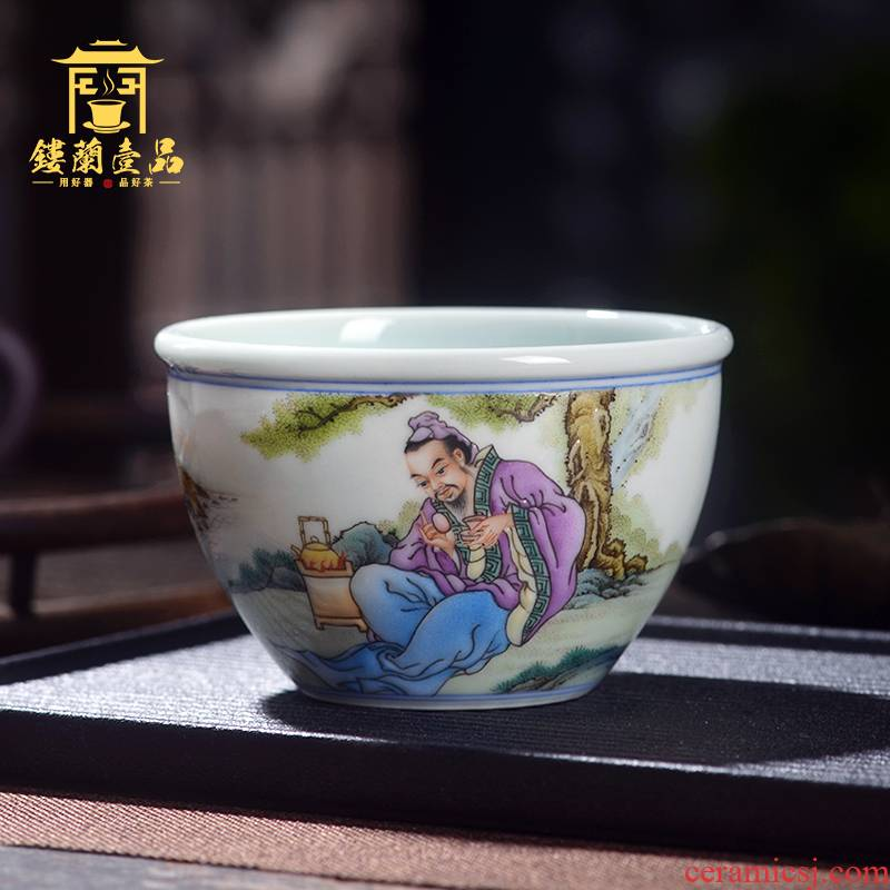 Jingdezhen ceramic master the total hand - made famille rose tea cup from the individual single cup sample tea cup tea cups