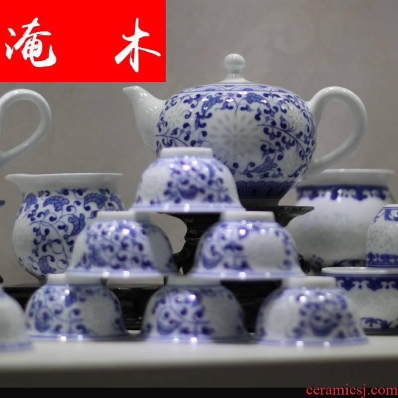 Submerged wood all hand - made porcelain lingling kung fu tea sets suit high - end gift box porcelain jingdezhen all hands