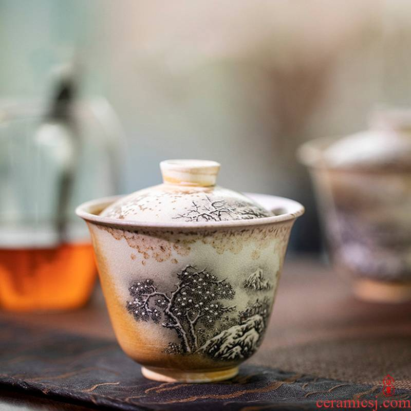 Fragrant only two sound firewood mountain snow covered bowl of jingdezhen wood to burn natural dust naked pure manual tureen