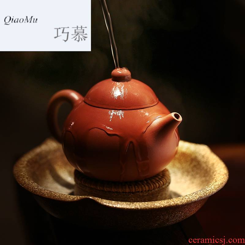 Qiao mu, yixing authentic masters are it by hand undressed ore the qing xi shi pot of of bottom chamfer pomelos pot of the teapot