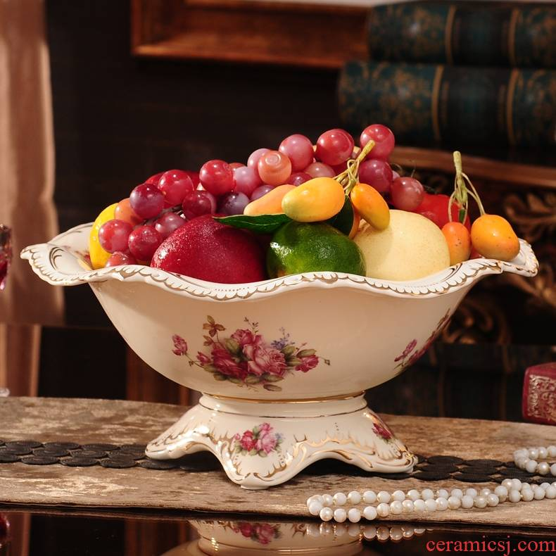 Qiao mu European ceramic bowl sitting room tea table fruit bowl furnishing articles household act the role ofing is tasted, creative and practical large dried fruit tray