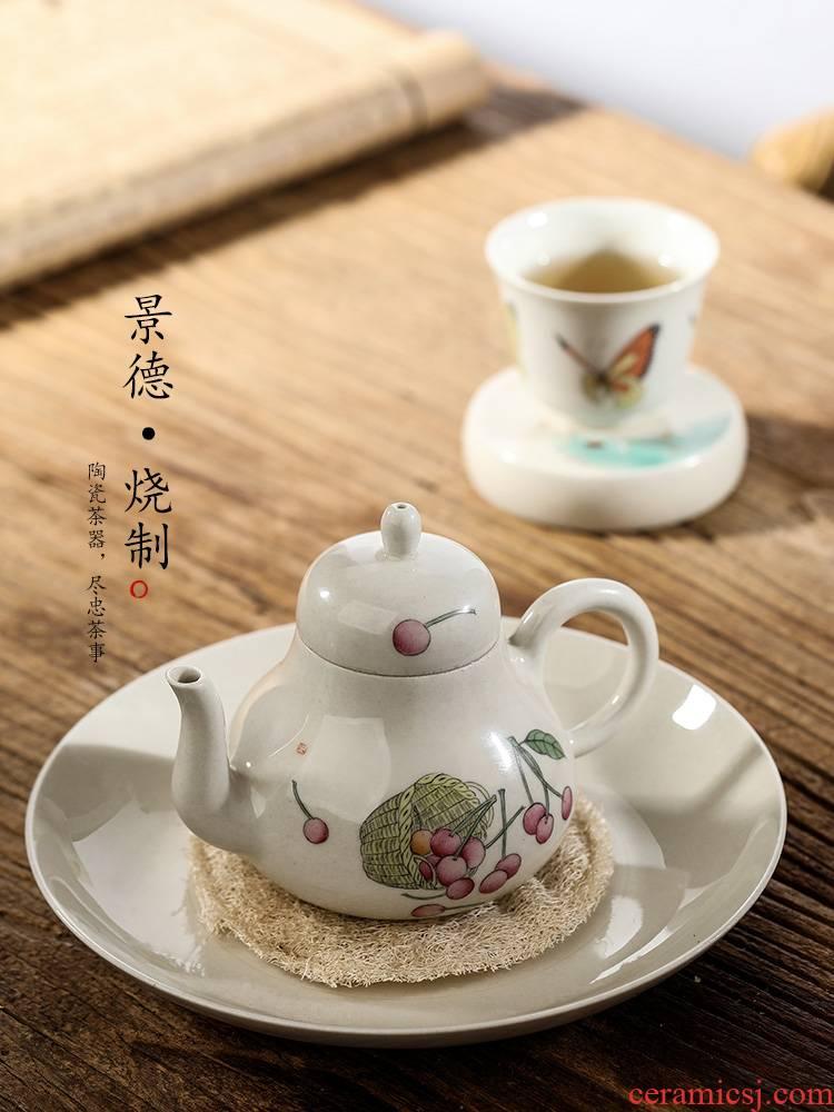 Jingdezhen pure manual teapot kongfu tea pot plant ash glaze hand - made cherry ball hole, small ceramic pot