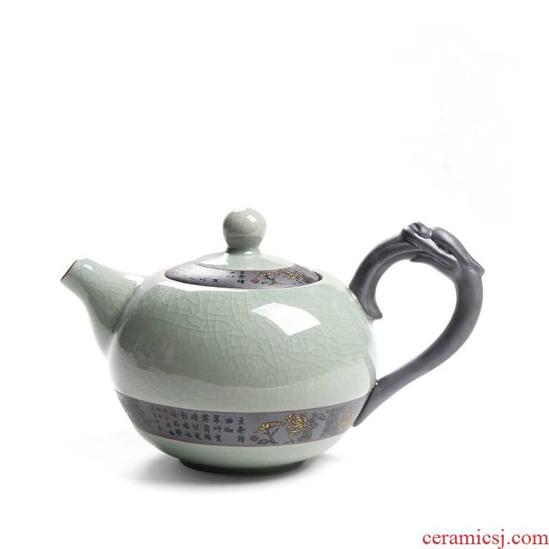 Elder brother up with ceramic kung fu tea pot single pot cracked grain tea service manual small belt filter tieguanyin tea, a single