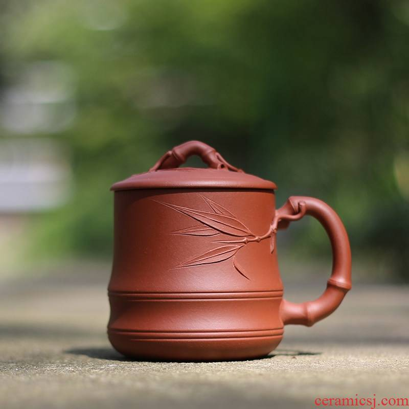 Qiao mu YM yixing undressed ore purple sand cup of pure checking make tea cover cup office water cup double ribbed