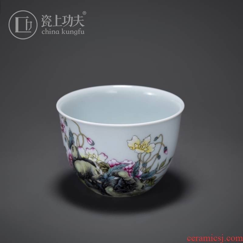 Porcelain kung fu jingdezhen ceramic cups in pastel corn poppy master single cup sample tea cup by hand