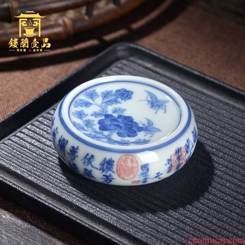 Jingdezhen ceramic blue and white oil, aromatic poem all hand - made post recent cover cup mat tureen Joe green CiHu socket cups
