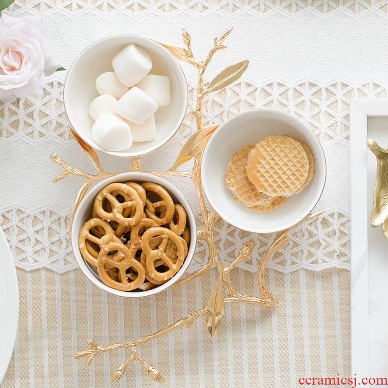 Qiao mu European ceramic snack dried fruit creative living room compote pure white household sweet fruit bowl bowl basket tray