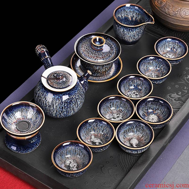 Teapot tea red glaze, suits for domestic high - grade office lounge 12 pieces of pure manual ceramic kung fu tea cups