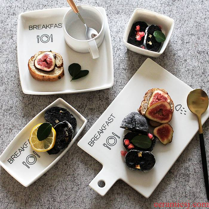 BREAKFAST raindrops bounce BREAKFAST tray ceramic bread plate small bowl of western dessert plate film props