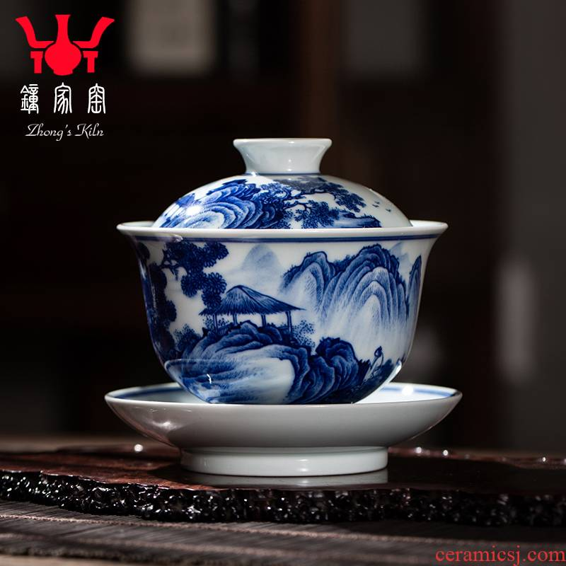 Clock home up maintain tureen of jingdezhen blue and white landscape large tea pure manual work heavy full three bowl of tea cups