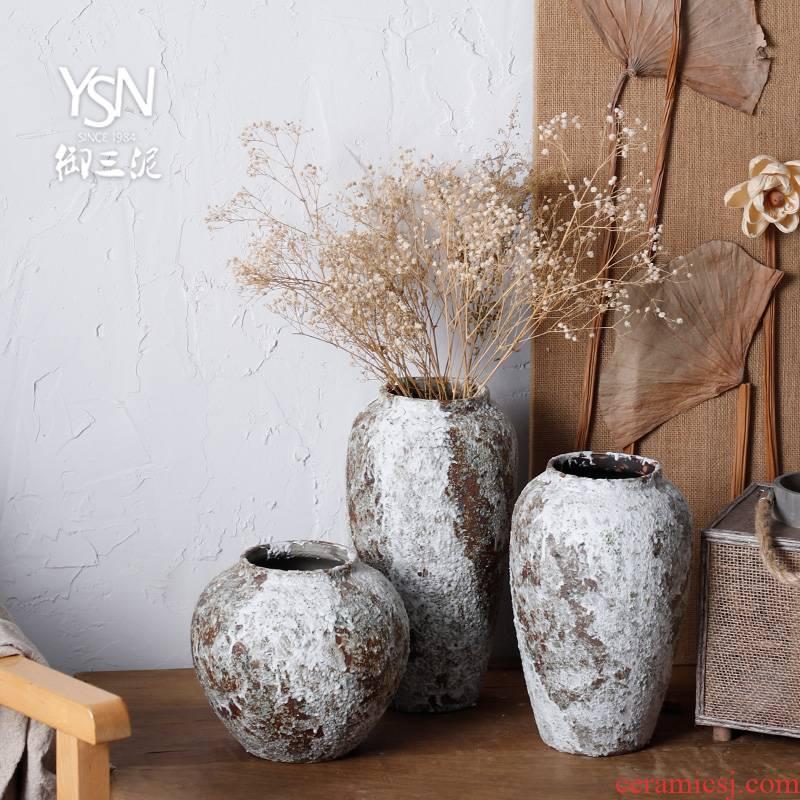 Three mud mesa coarse pottery vases royal dry flower vases, pottery jar ceramic earthenware rough feeling restoring ancient ways flowerpot furnishing articles