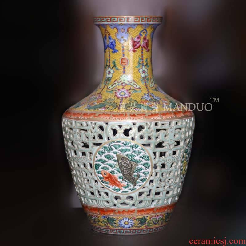 Qianlong pastel hollow - out the revolving up collection bottle appreciation ceramic hollow out double gut fish bottle