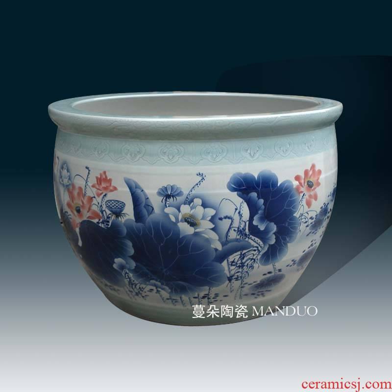 Jingdezhen 1 m to 2 m diameter oversized porcelain VAT tianshui customized lotus landscape garden is big