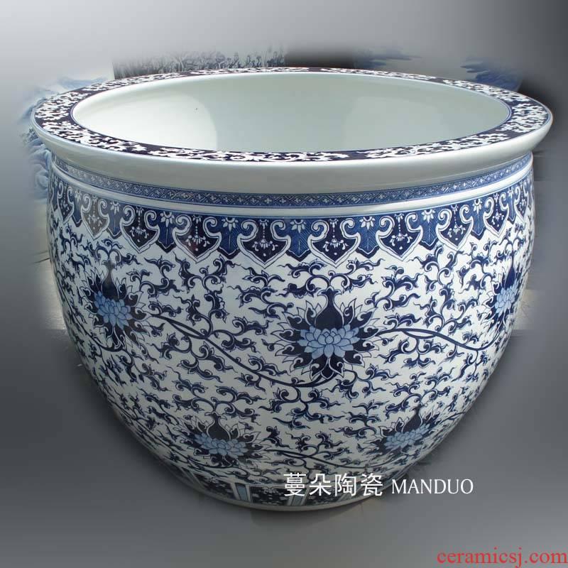 Jingdezhen painting landscape art porcelain ceramic VAT vats painting lotus flower porcelain vats