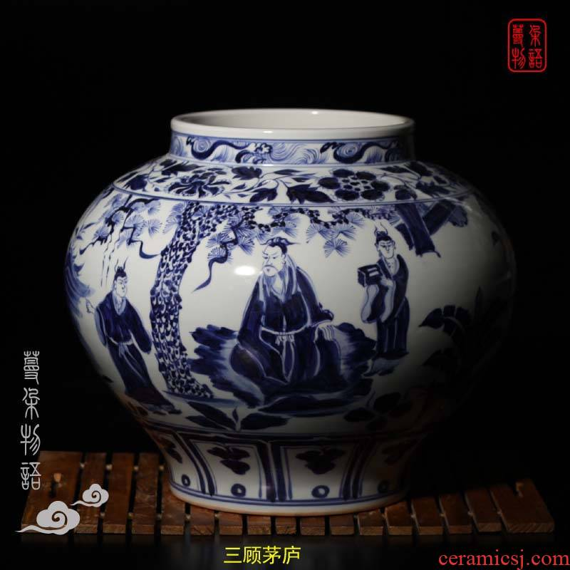 Jingdezhen imitation of yuan blue and white top ten as cans of classic picture of three Samson chow baihua pavilion point as wang zhaojun