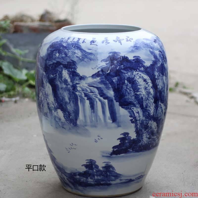 56 cm high idea gourd shape picture tube of jingdezhen jingdezhen hand - made porcelain painting landscapes tube of idea gourd as cans