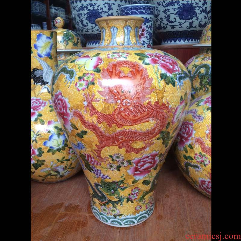 Jingdezhen imitation the qing 58 cm high hand - made pastel yellow bottom dragon tree mei bottle with series ceramic vase
